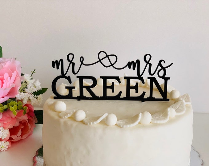 Personalized Mr and Mrs Heart Cake Toppers Wedding Cake Topper Custom Last Name Acrylic Wooden Last Name Cake Topper Cake Decorations