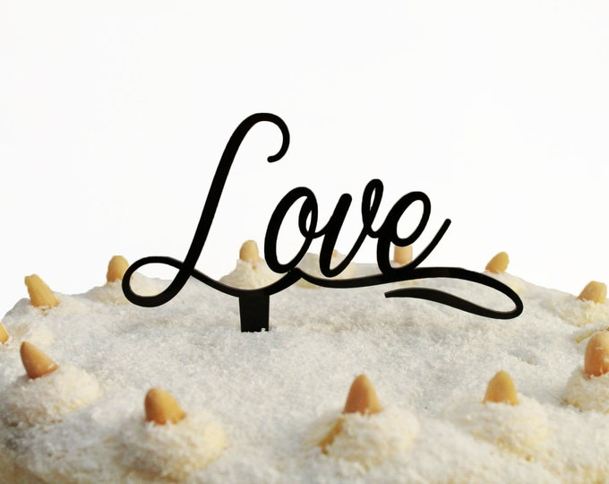 Love Cake Topper Valentines Day Party Decorations Centerpiece Personalized Cupcake Custom Wedding Sign I Love You More Anniversary Any Color