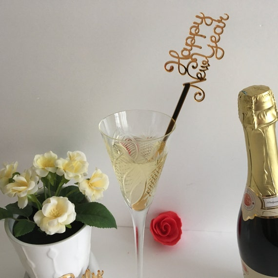 New Year's Eve Centerpiece stick 2018 Happy New Year drink stirrers Personalized cocktail swizzle sticks Champagne stirrers 2018 Party stick
