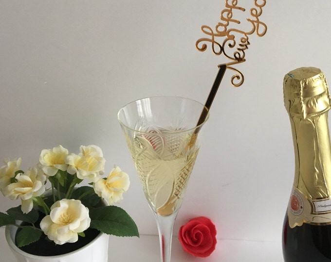 New Year's Eve Centerpiece stick 2022 Happy New Year drink stirrers Personalized cocktail swizzle sticks Champagne stirrers 2021 Party stick