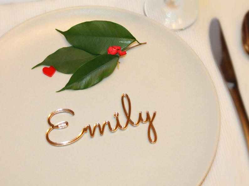 Personalized place cards Place name settings Guest names Gold Mirror