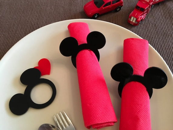 Mickey napkin rings Kids cloth napkins Mickey theme Mickey Mouse ears napkin ring holders Minnie Mouse Kids party favors Disney birthday tag