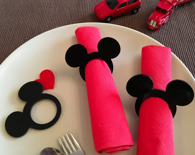Mickey napkin rings Kids cloth napkins Mickey theme Mickey Mouse head napkin ring holders Minnie Mouse Kids party favors Disney birthday tag