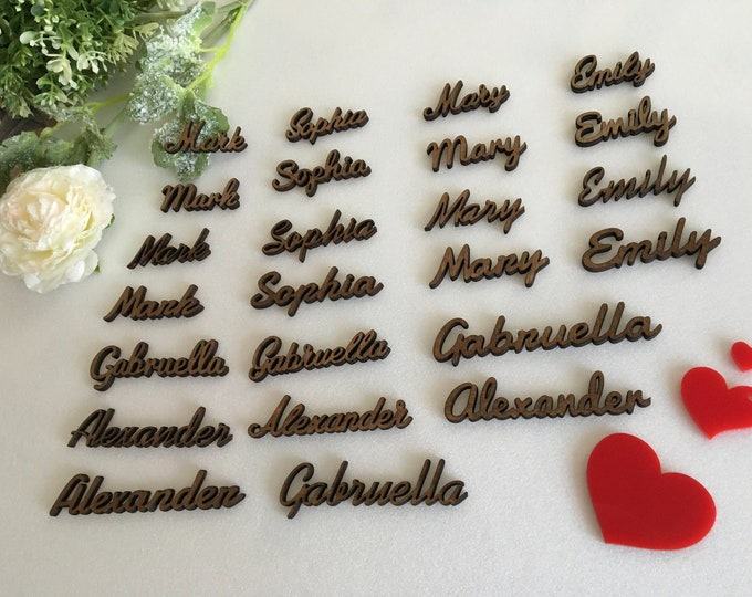 Dark Wood Laser Cut Names Wooden place cards Name settings Personalised Wedding Signs Custom Seating Tags Rustic Reception Decor Calligraphy
