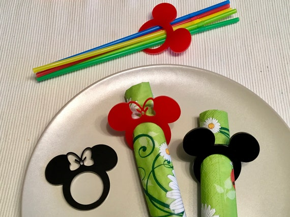 Mickey Mouse Ears Minnie Mouse Theme Acrylic Napkin Rings Disney Bow Birthday Table Party Decor Black Red Clubhouse Cartoon Napkin Holders