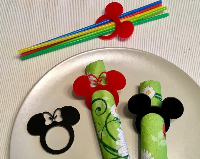Acrylic Napkin Rings Mickey Mouse Theme Disney Bow Birthday Table Party Decor Black Red Clubhouse Cartoon Napkin Holders Minnie Mouse Head
