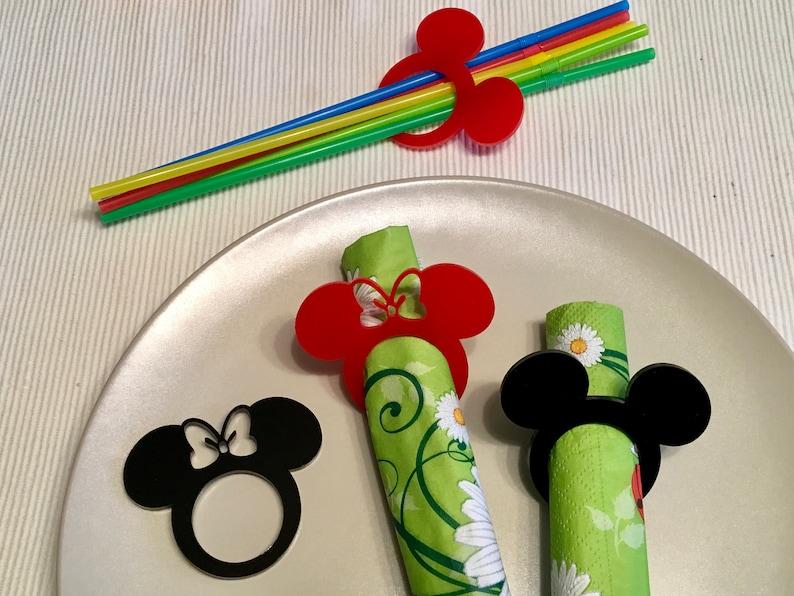 Acrylic Napkin Rings Mickey Mouse Theme Disney Bow Birthday image 0