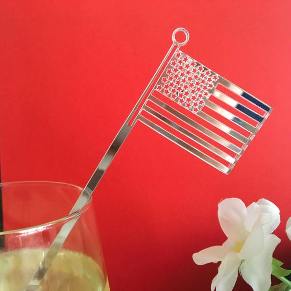 Fourth of July 4th of July US flag Acrylic stars and stripes American Patriotic Cocktail party picks Swizzle Sticks Independence day decor