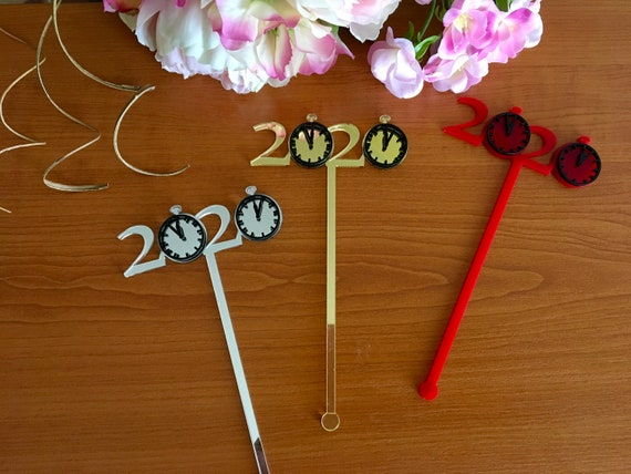 2020 New Year Celebration Cupcake Toppers 20s Theme Cake Topper Table Decorations Centerpiece Stir Sticks Ornament Clock New Year's Eve 2019