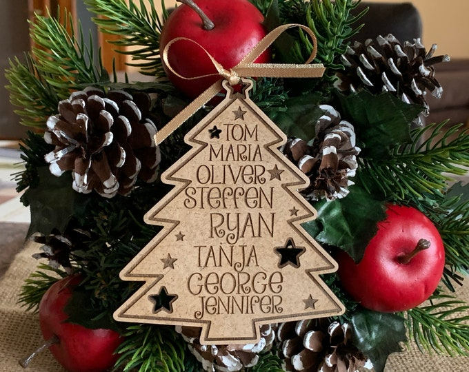 Personalized Wooden Family Christmas Tree Custom 2021 Engraved Hanging Ornament Family Names Holiday Gift Wood Xmas Tree Kids Names New Year