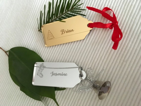 Christmas gift tags Acrylic place cards Personalised gift label Christmas gift wrap Present Tags Custom Tags Engraved Place name setting tag