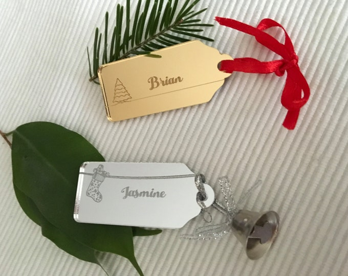 Christmas Gift Name Tags Acrylic Place Cards Personalized Labels Xmas Gift Wrap Present Tags Custom Name Tags Engraved Place Name Settings
