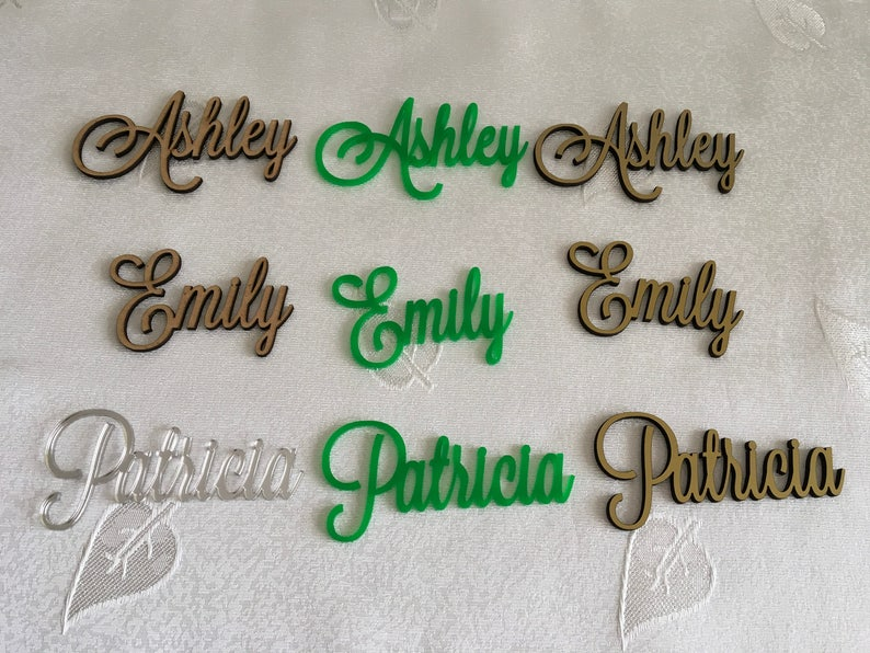 Personalized laser cut table names for wedding parties Wedding seating Place cards Custom name settings Wooden place names Calligraphy names