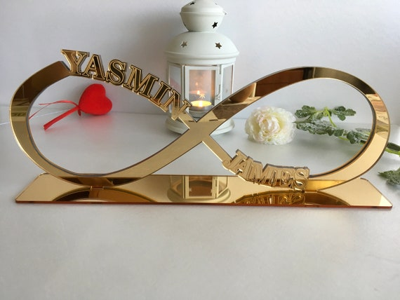 Personalized Infinity Symbol Wedding Name Love Sign Valentines Gift Table Decorations You and Me Reception Custom Centerpiece Couples Names