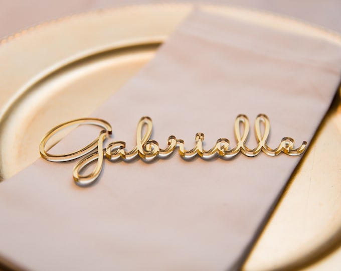 Personalized Acrylic Laser Cut Names Gold Place Cards Name Settings Guest Tags Wedding Party Table Signs Invitation Escort Cards Custom Wood