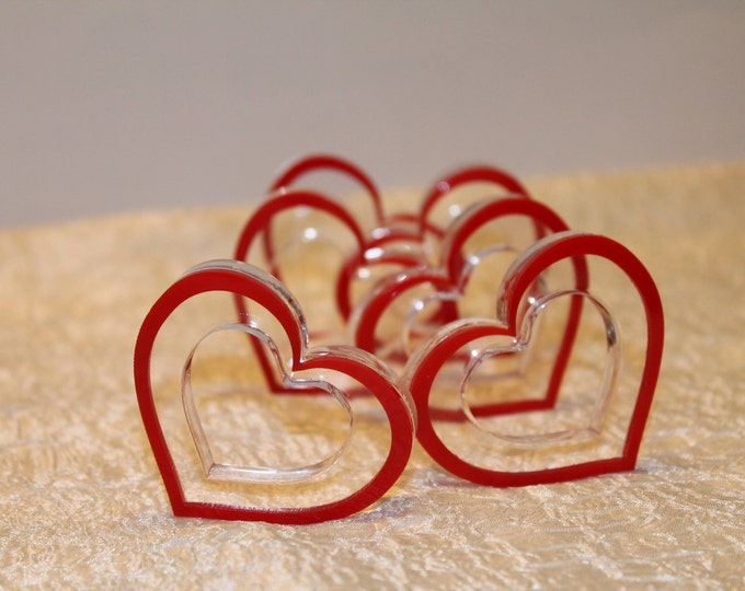 Wedding Napkin Rings Red Hearts Mothers day Gift for her Kitchen Table Accessories Decorations Valentines day gift Paper holders, Set of 6