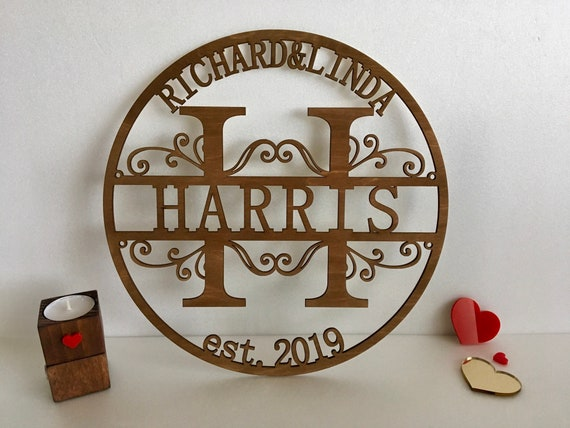 Custom Wood Family Last Name Sign Wooden Wedding Gift Initial Split Letter Laser Cut First Names Est. Year Established Personalized Monogram