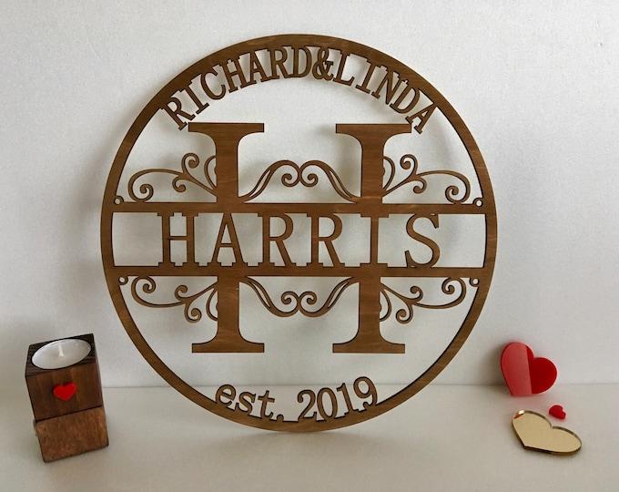 Custom Wood Family Last Name Sign Wooden Wedding Gift Initial Split Letter Laser Cut First Names Est. Year Established Personalized Monogram