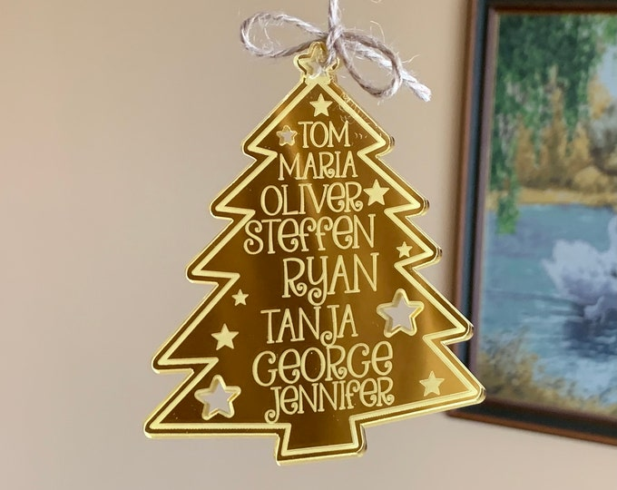 Personalized Acrylic Family Names Hanging Ornament Christmas Tree Custom Wooden 2021 Holiday Xmas Gift for Mom, Dad Mirrored Engraved Bauble