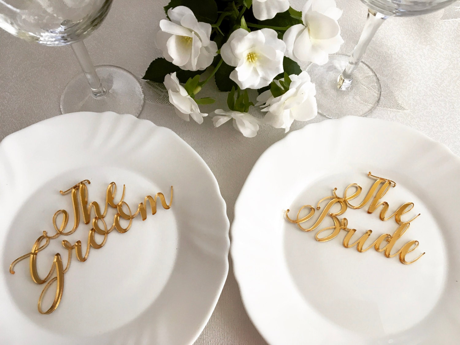 Bride and Groom Signs Laser cut names Wedding place cards ...