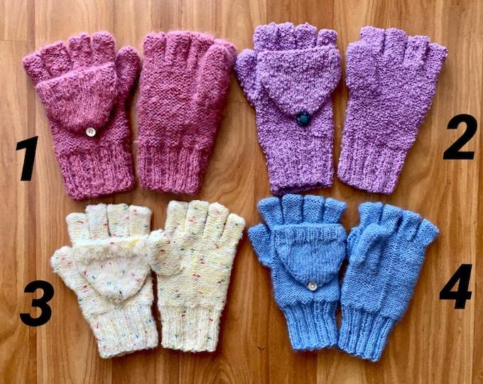 Hand-Knitted Convertible Fingerless Gloves Mittens for Girls Knit Wool Gloves Winter Color Women Hand Warmers Gift for Mom Crochet Glittens