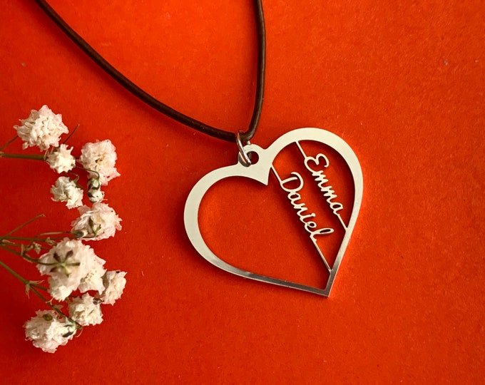 Personalized Heart Necklace Custom 2 Names Couples Heart Love Pendant Jewelry Girlfriend Gift Valentines Day Gift for Women Charm Necklace