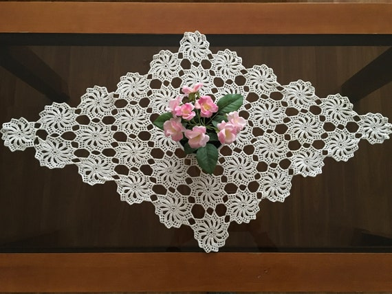 Crochet Lace Doily Diamond Shape Beige Vintage Handmade Large Table Runner Cotton Table Decorations Centerpiece Topper Gift idea for Mom