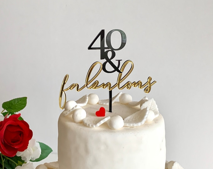 40 and Fabulous Personalized Cake Topper 40th Birthday Happy 40th Birthday Hello Forty Birthday Party Decorations Forty Years Old Turning 40