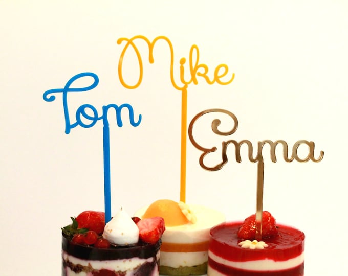 Personalized Name Cake Toppers Custom Birthday Party Centerpieces Cupcake Customized Any Name Bachelorette Bridal Table Event Decorations