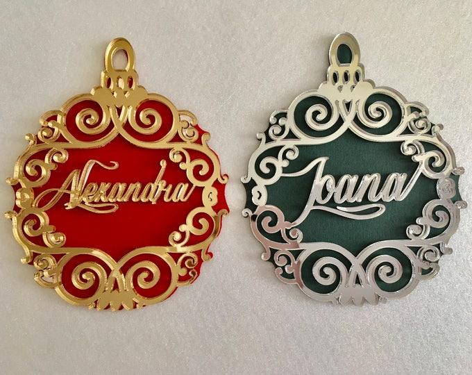 Personalised Luxury Christmas Name Ornament Christmas Bauble Xmas Keepsake Christmas Tree Decor Gold Name Bauble Custom Hanging Ornaments