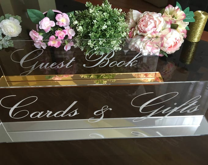 Cards and Gifts Table sign Guestbook Alternative Wedding Signs Clear Acrylic Wedding Engraved Freestanding Reception Calligraphy Custom sign