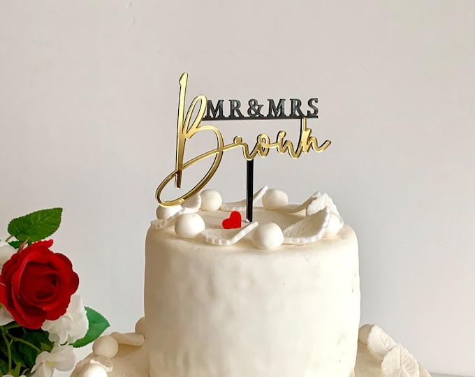 Personalized Mr and Mrs Wedding Cake Topper Custom Last Name Bride & Groom Wedding Decorations Anniversary Acrylic Cake Toppers for Weddings