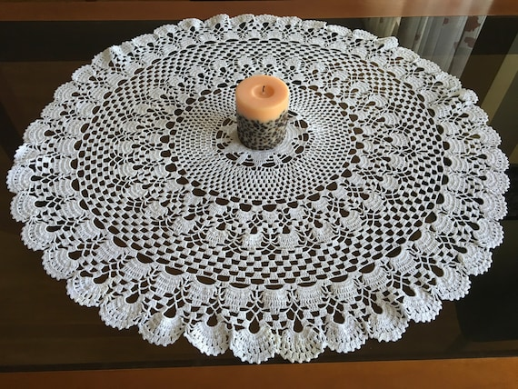 Large Doily Crochet Round Tablecloth Lace Handmade Doilies Wedding Gift for Bride Mom Table Decorations Tableware Centerpiece Vintage Decor