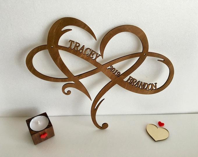 Personalized Wood Infinity Heart Sign Custom Wedding Gift Couple Names Established Est Date Wooden Shape Wall Hanging Door Hanger Home Decor