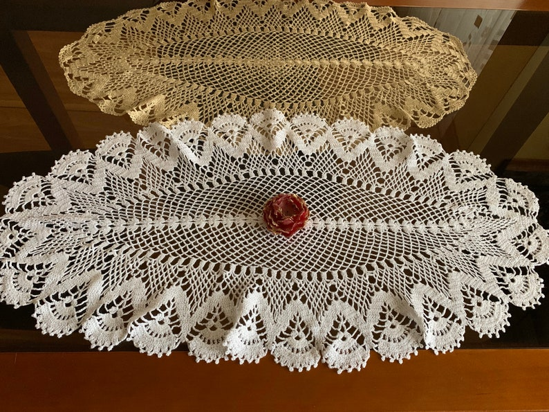 Large Oval Lace Doily Crochet White Beige Doilies Handmade image 0