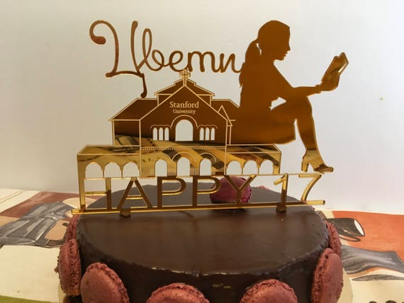 Happy Birthday Cake Topper Personalized Name Age Topper Graduation Cake Silhouette Girl Reading Book Stanford university College High school