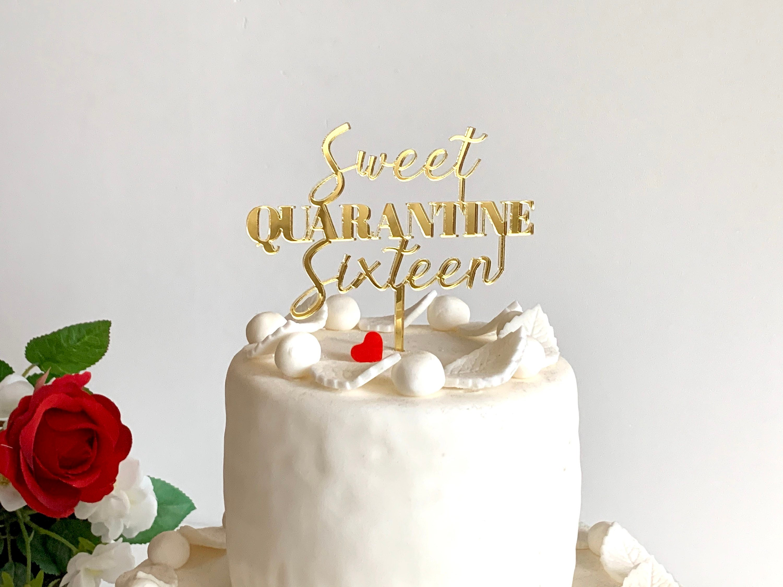 16 Cake Topper Acrylic Sixteen Rose Gold Mirror Birthday Anniversary