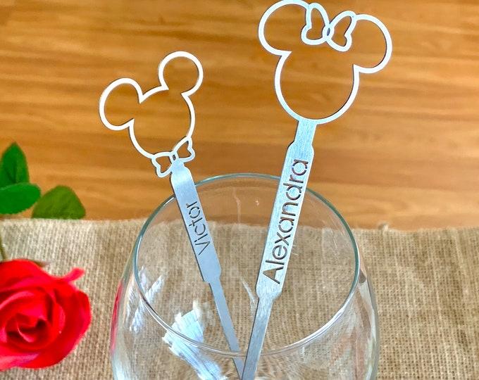 Stainless Steel Personalized Mickey Mouse Minnie Mouse Drink Stirrers Disney Wedding Decorations Custom Names Birthday Swizzle Stir Sticks