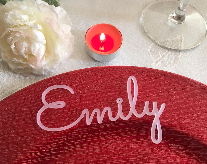 Personalized names Frosted White Place cards Laser Cut Acrylic table name Winter wedding Name place settings Guest seating White decorations