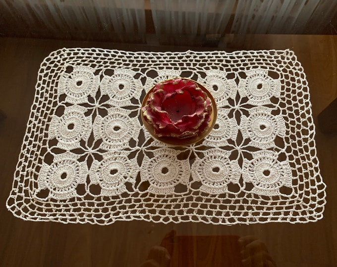 Small White Doily Crochet Vintage Rectangle Handmade Tablecloth Table Topper Centerpiece Crocheted Lace Doilies Coffee Placemat Gift for mom