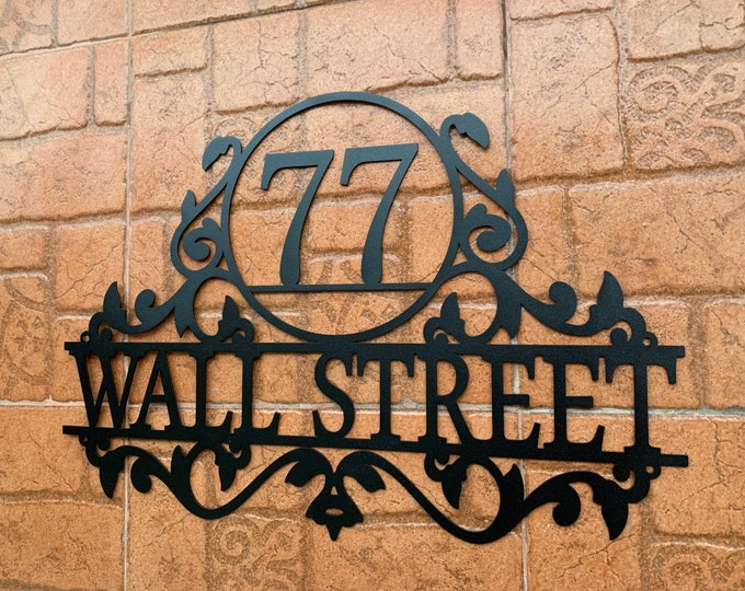Personalized Metal Address Sign for House Custom Number Sign Street Address Plaque Outdoor Sign Metal Wall Art, Wall Hanger Front Door Signs