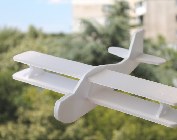 White Airplane Toys Biplane Gift for Boy Garden Party Birthday Decorations Handmade Air Plane DIY Painting Aeroplane Handcrafted Kids Plane