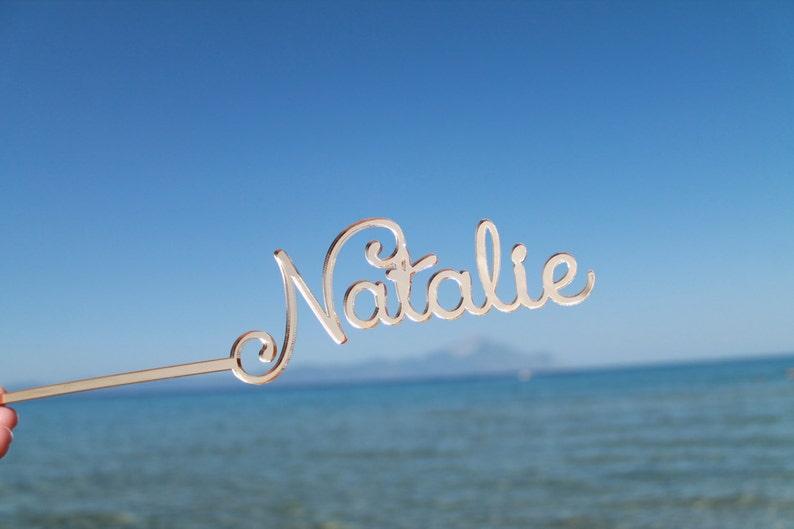 Personalized wedding drink stirrers Gold acrylic swizzle image 0