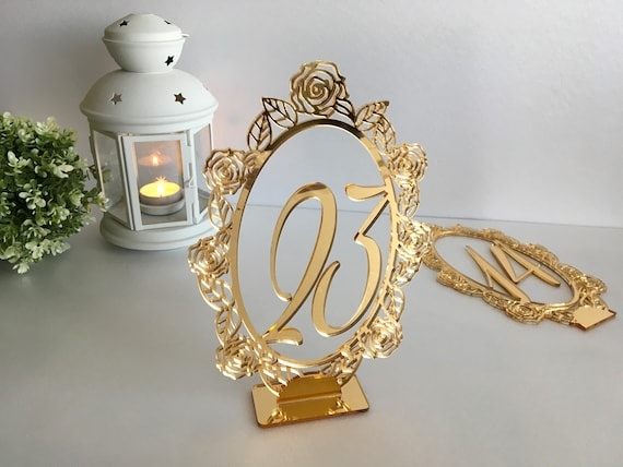Gold Wedding Table Numbers Oval Wedding Table Signs Centerpieces Shabby Chic Table Markers Stand Table Cards Acrylic Laser Cut Rose Flowers