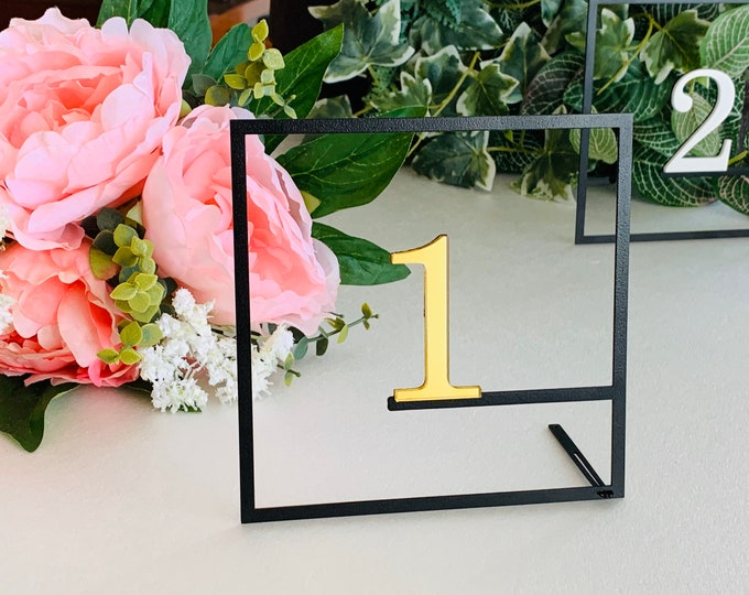 Wedding Table Numbers Metal Modern Table Centerpieces Reception Decor Wedding Signs Geometric Square Personalized Freestanding Number Holder