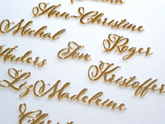 Laser cut names Calligraphy cards Personalized Wedding place cards Custom table names Wedding name tags Elegant Wedding Place name setting