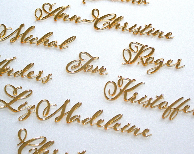 Laser cut names Calligraphy names Personalized wedding place cards Custom table names Wedding name tags Elegant Wedding Place name setting