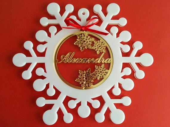 Personalised baubles Christmas gift Unique Christmas ornaments Name tree decoration Winter snowflakes Gold acrylic bauble Xmas family gifts