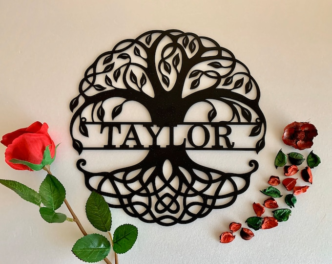 Custom Family Last Name Metal Sign Personalized Tree of Life Sign Housewarming Gift Wedding Gift Metal Wall Art Front Door Wreath Wall Decor