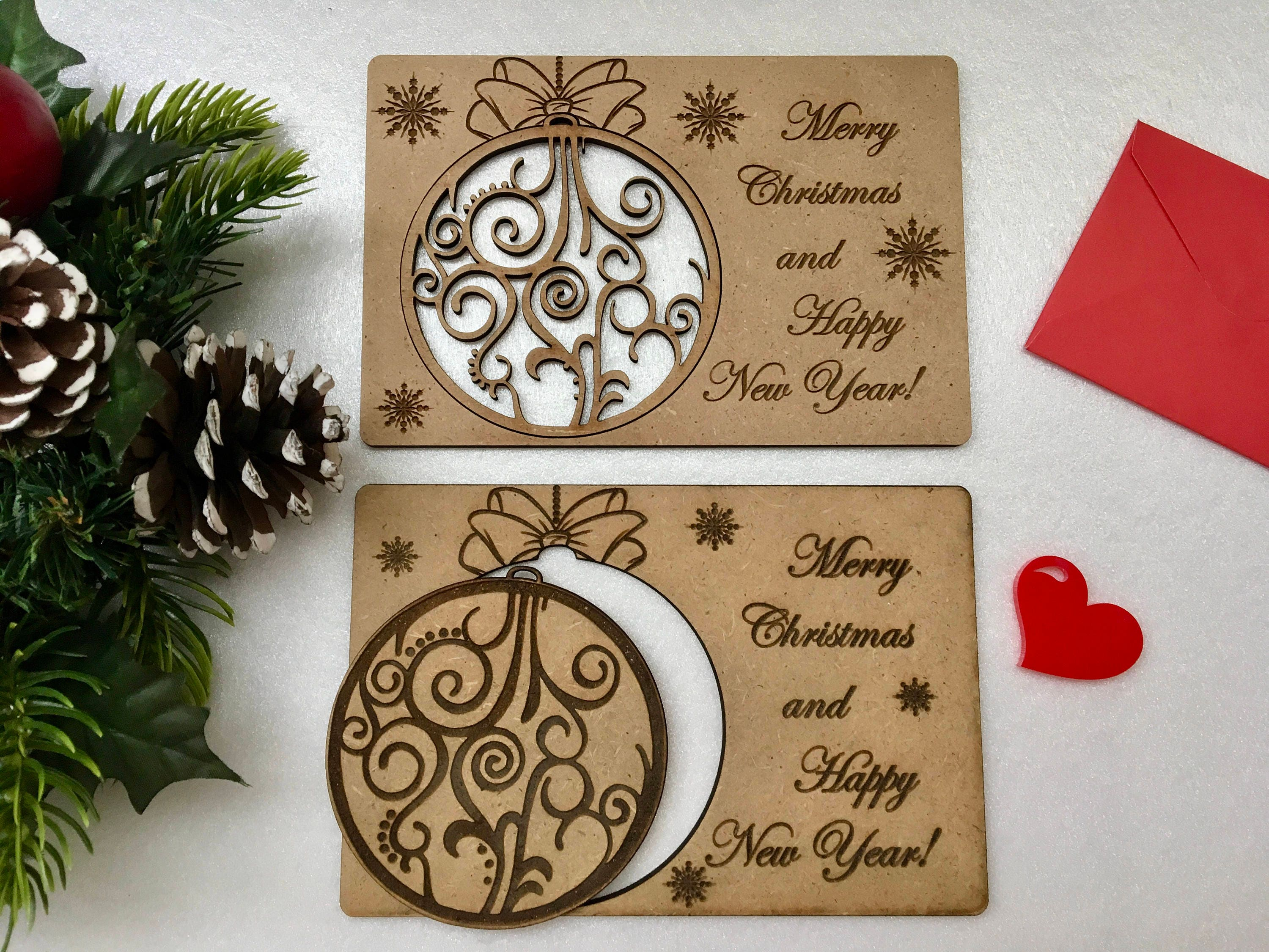 Merry Christmas cards Engraved Xmas ornaments Personalized wooden ...